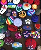 picture of rocks painted with various designs